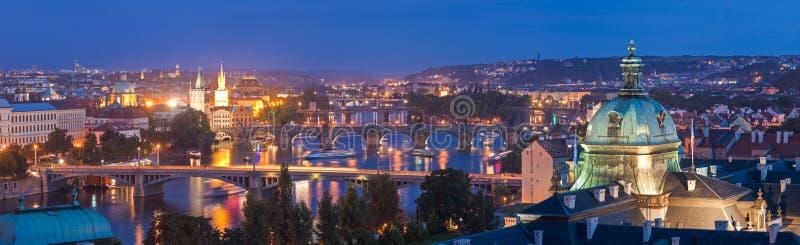 Magical night illuminations of Prague stock photography