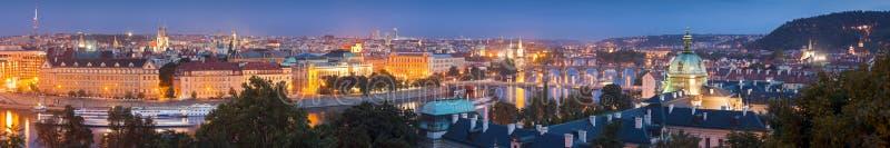 Magical night illuminations of Prague stock photo