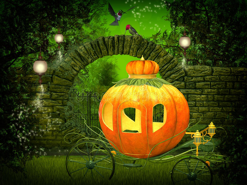 Magical night, pumpkin carriage royalty free illustration