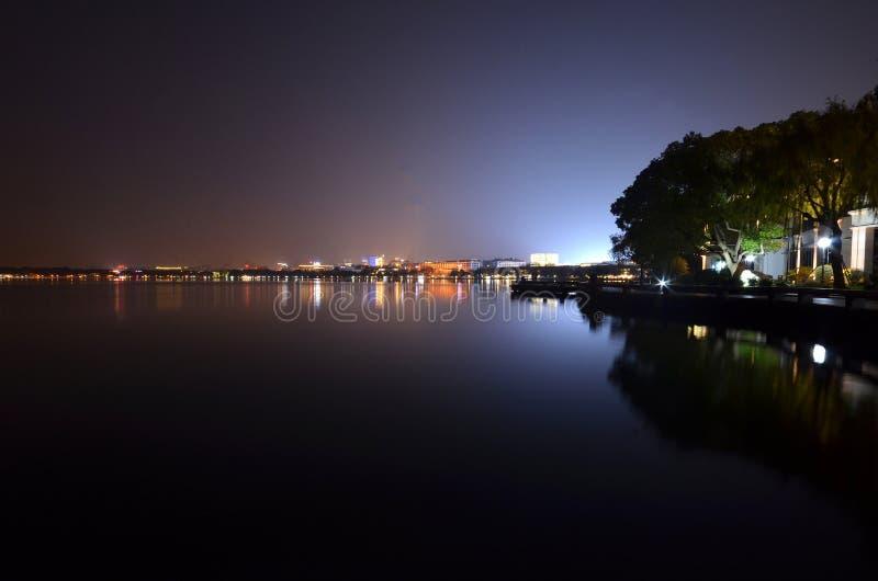 Night view of Hangzhou West Lake stock photo