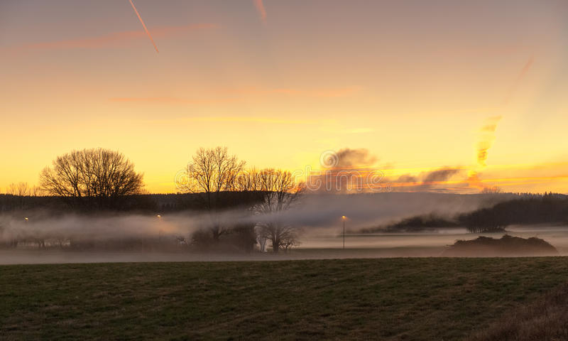 Download Magical November sunset stock photo. Image of mist, autumn - 26982576