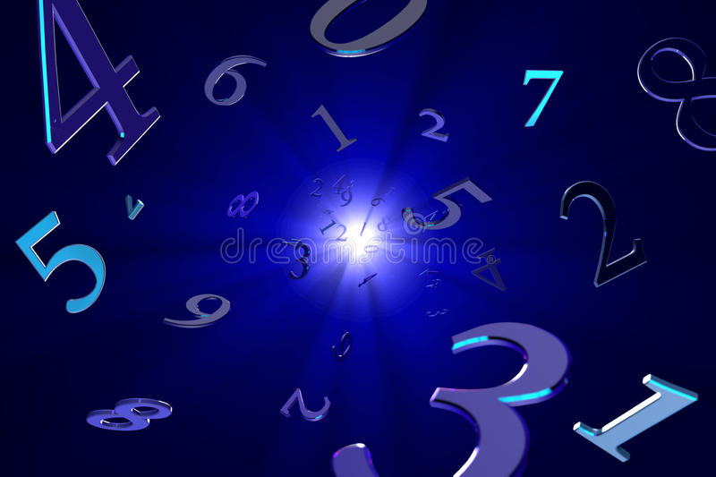 Magical numbers (numerology). A lot of numbers on a beautiful art background vector illustration