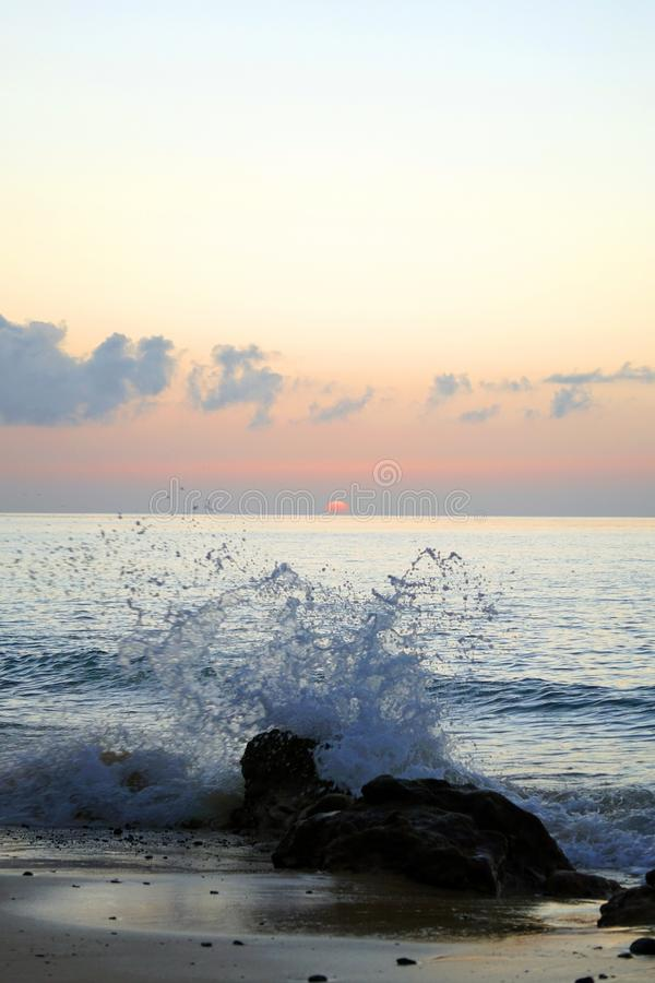Magical ocean. Atlantic. Morning. Sunrise over the horizon. Great moments of a new day. stock image