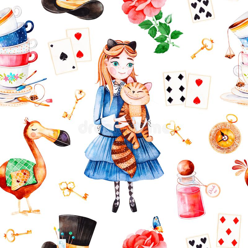 Magical pattern with lovely rose,playing cards,hat,old clock and golden keys,young girl vector illustration