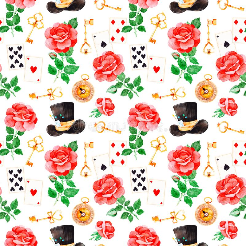 Magical pattern with lovely roses, playing cards, hat, old clock and golden keys vector illustration
