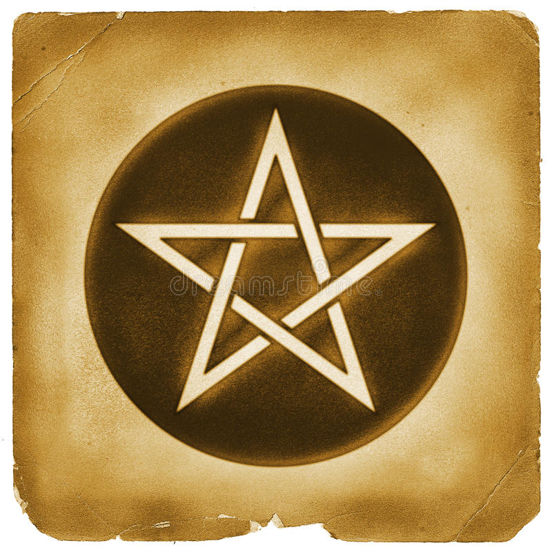 Magical pentacle symbol old paper. Pentacle star circle mark on weathered papyrus. Magical element. Tarot money coin sign royalty free illustration
