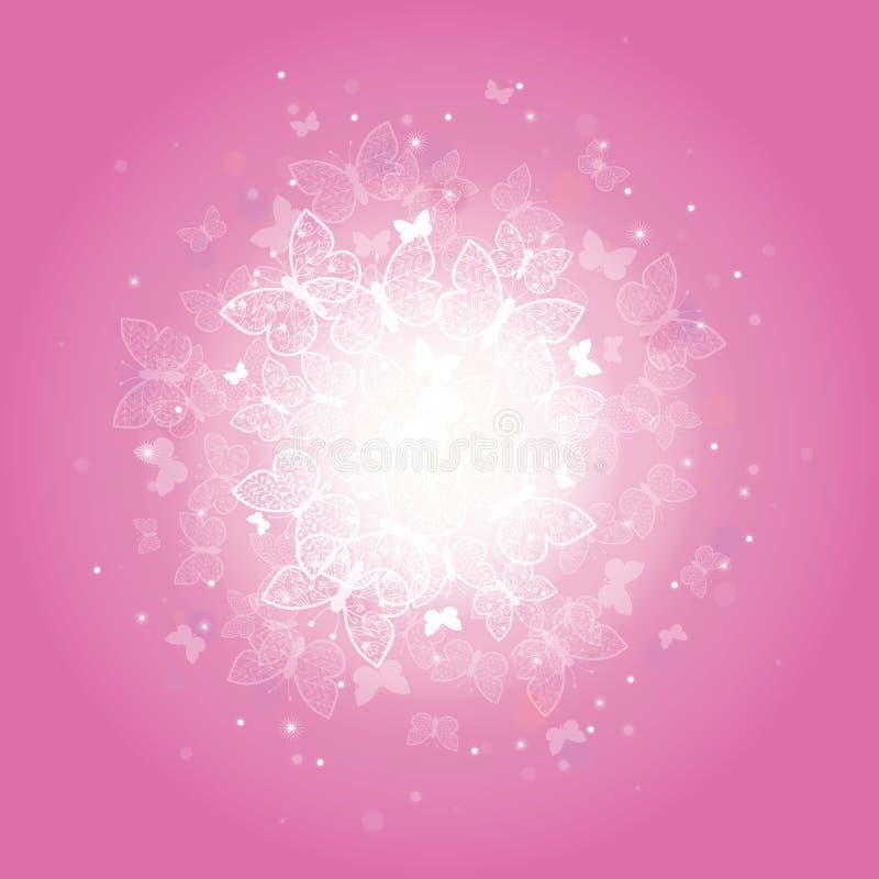 Magical pink butterflies sunburst background royalty free illustration