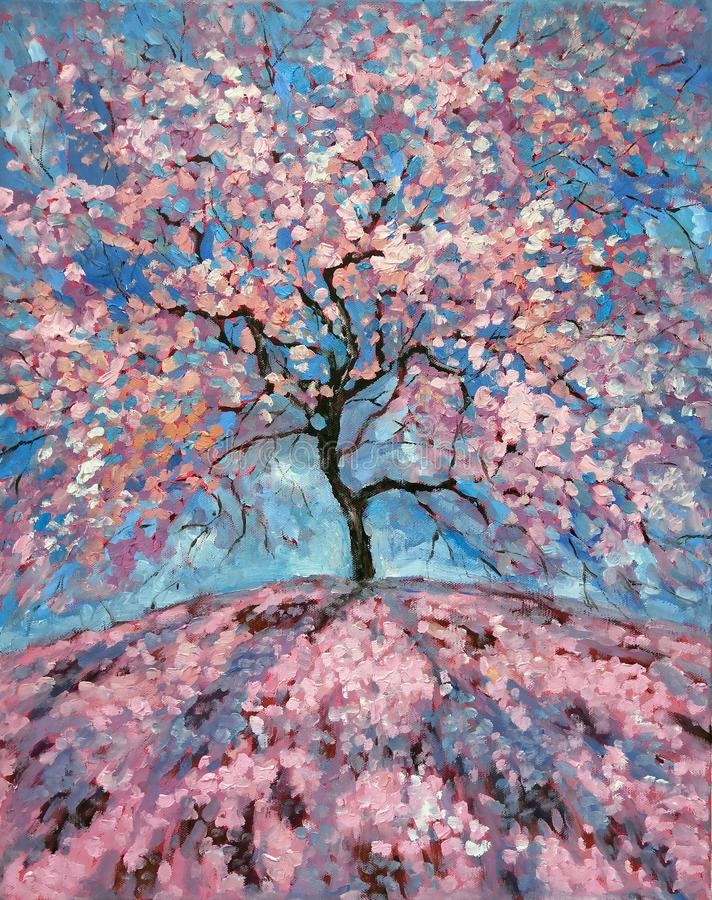 Magical Pink flower tree. Oil painting of blooming spring tree. Hand Painted Floral Greeting Card Illustration. Romantic Oil. Picture royalty free stock photo