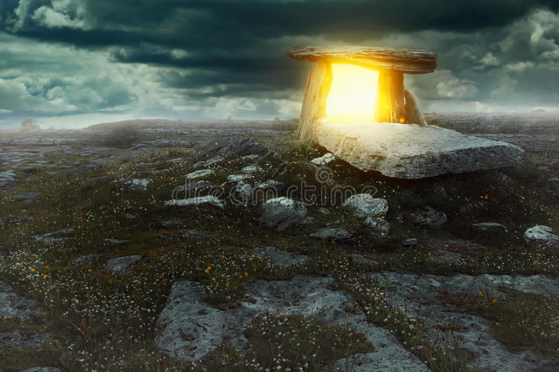 Magical portal in a mysterious land stock image