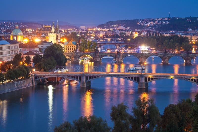 Magical Prague at night stock photography