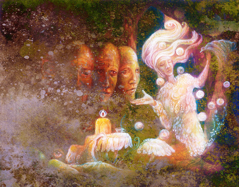 Magical radiant fairy spirit in forest dwelling with sacred tree.  royalty free illustration