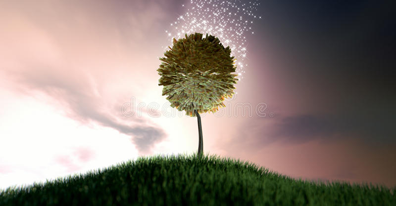 Magical Rand Money Tree. South african rand bank notes surrounded by magical sparkles on a grassy green hill on a dramatic dawn sky background with clouds stock images