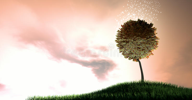 Magical Rand Money Tree. South african rand bank notes surrounded by magical sparkles on a grassy green hill on a dramatic dawn sky background with clouds stock photography