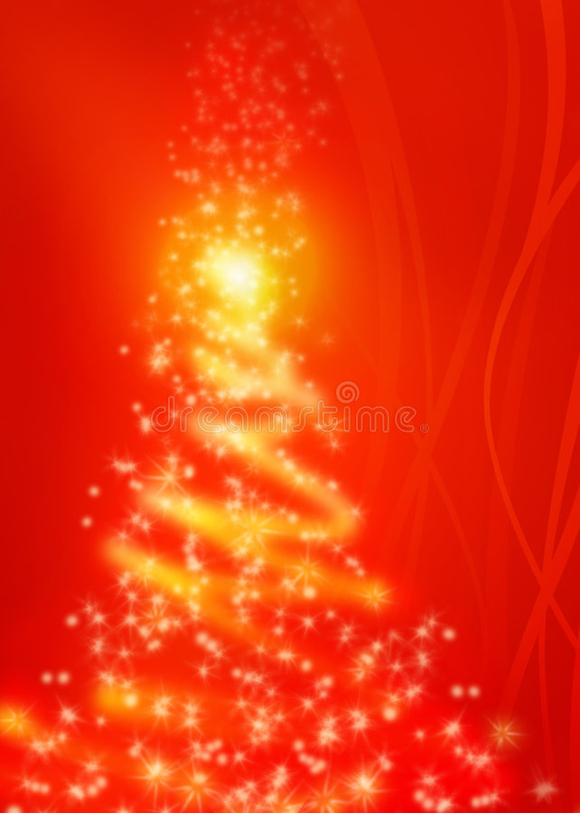 Magical red Christmas tree vector illustration