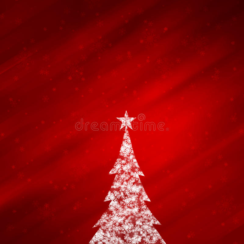Magical red color background with lovely Christmas tree. Illustrated magical snowflake white Christmas tree with star shape and beautiful bright and shiny red stock illustration