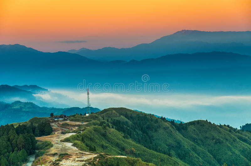 MAGICAL RISE. This image was taken by me in a mountain village named Tiger Hill which is an hours drive from the Queen of Hills Darjeeling. I was astonished by royalty free stock image