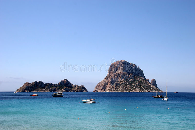 Magical Rock Es Vedra, Ibiza. The second most energetic point in the world - Es Vedra Magical Rock royalty free stock photography
