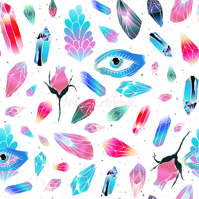 Magical seamless pattern royalty free illustration