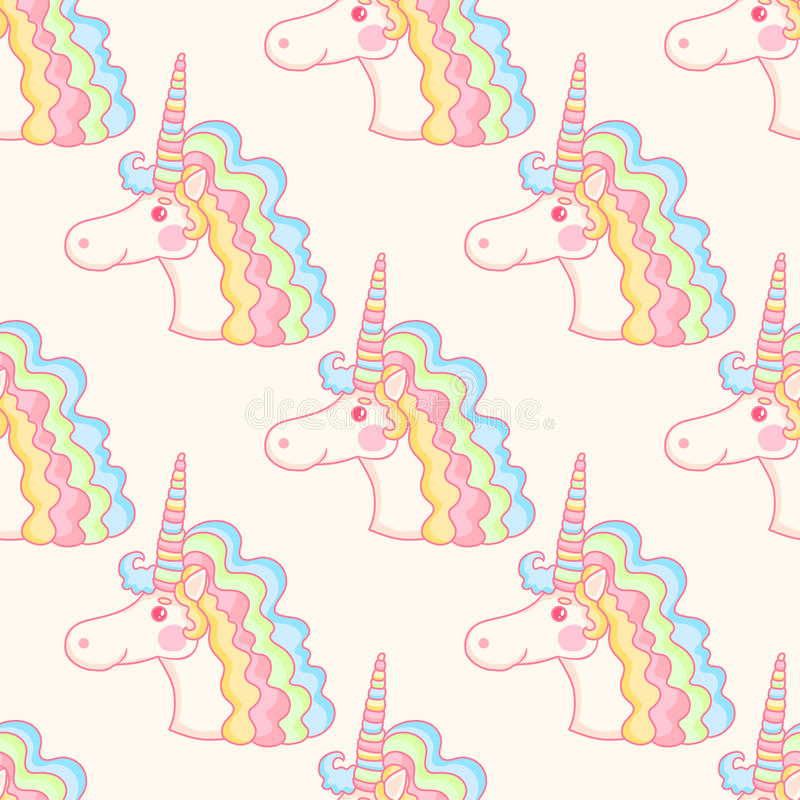 Magical seamless pattern with pink unicorn. stock illustration