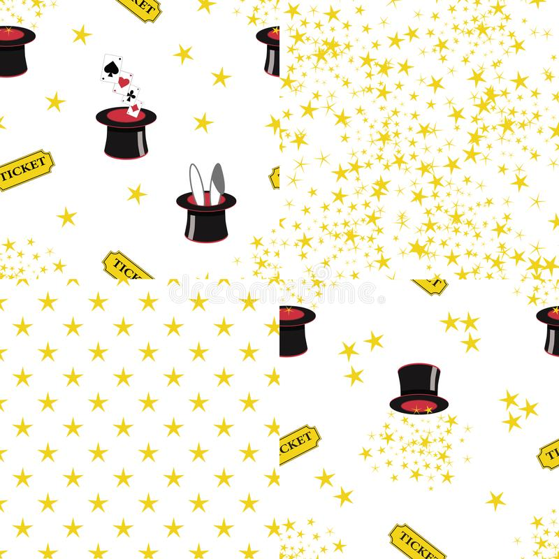 4 magical seamless repeat patterns on white backgrounds vector illustration