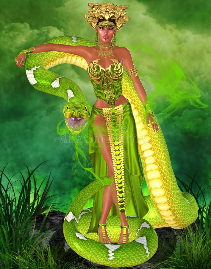 Magical snake goddess in green. Green snake goddess. A fantasy depiction of a mystical goddess with the power over snakes is set against a green background with royalty free illustration