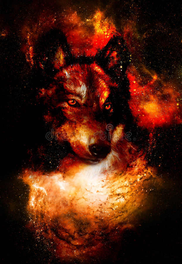 Magical space wolf, multicolor computer graphic collage. Space fire. stock illustration