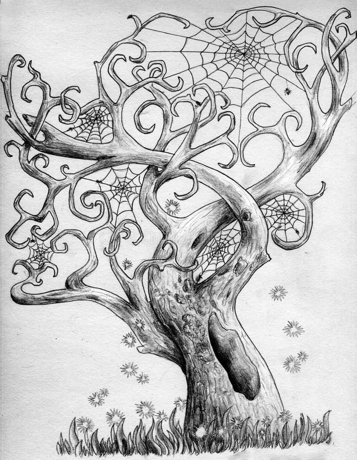 Magical spider tree. Magical tree with intricately interlaced and curved branches with no foliage but with lots of spiders' webs. Careless fireflies fly around royalty free illustration