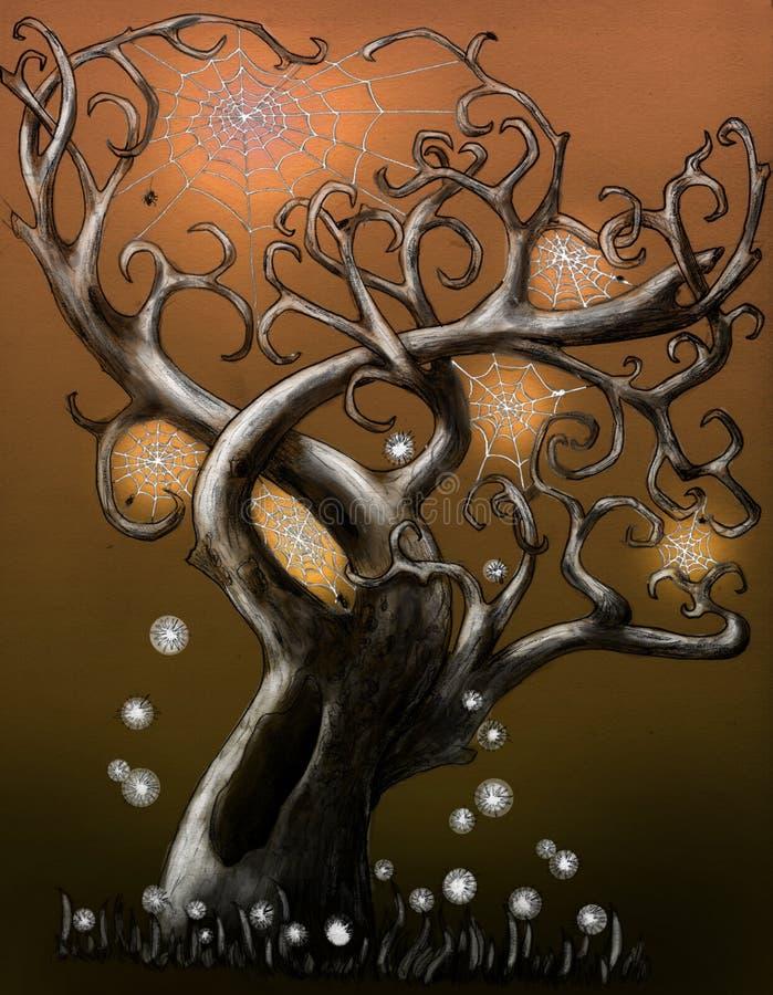 magical spindeltree royaltyfri illustrationer