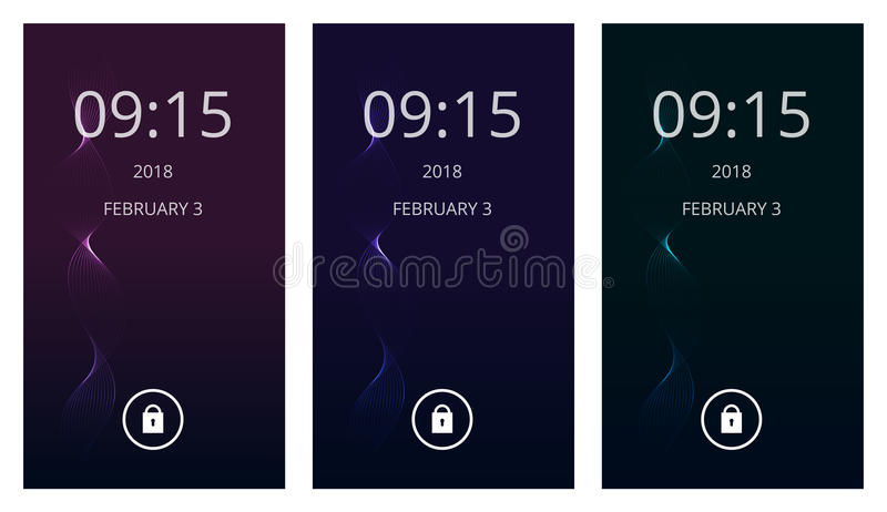 Magical spiral on dark gradient. Set of modern user interface, ux, ui screen wallpapers for mobile smart phone. Highlighted spiral on dark gradient. Set of stock illustration