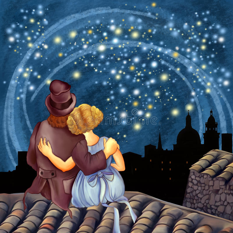 Magical Starry Night. Two lovers on the roof at night look at the magic of the stars
