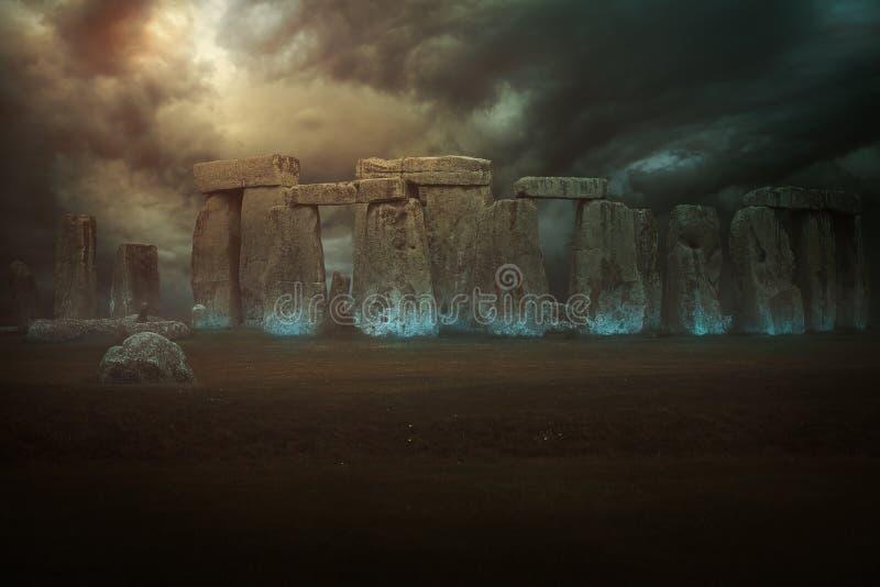 Magical stones of Stonehenge. Fantasy manipulation royalty free stock photo