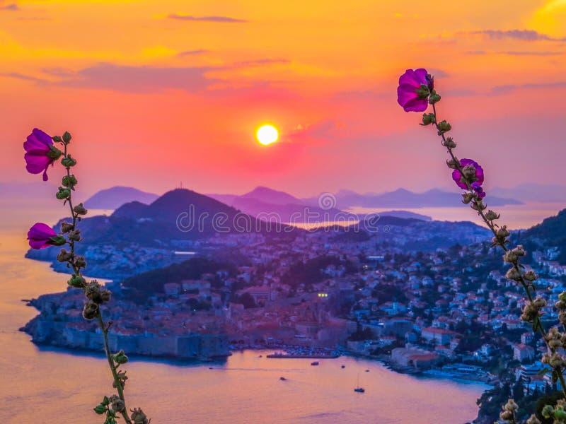 Magical sunset in Dubrovnik, Croatia royalty free stock images