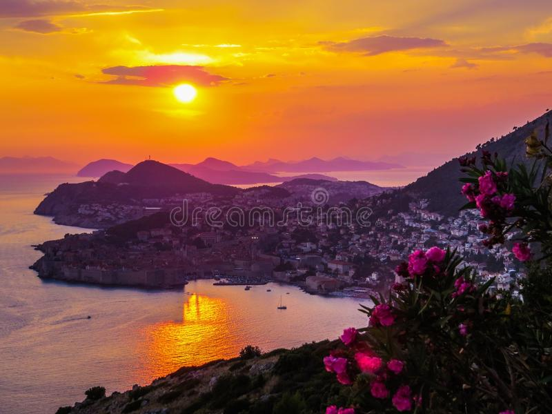 Magical summer sunset in Dubrovnik, Croatia. Summer sunset over the city of Dubrovnik with mountains in the background royalty free stock photography