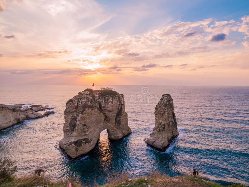 Magical sunset on Raouche, Pigeons` Rock. In Beirut, Lebanon royalty free stock photography
