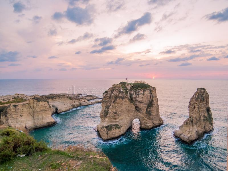 Magical sunset on Raouche, Pigeons` Rock. In Beirut, Lebanon stock images