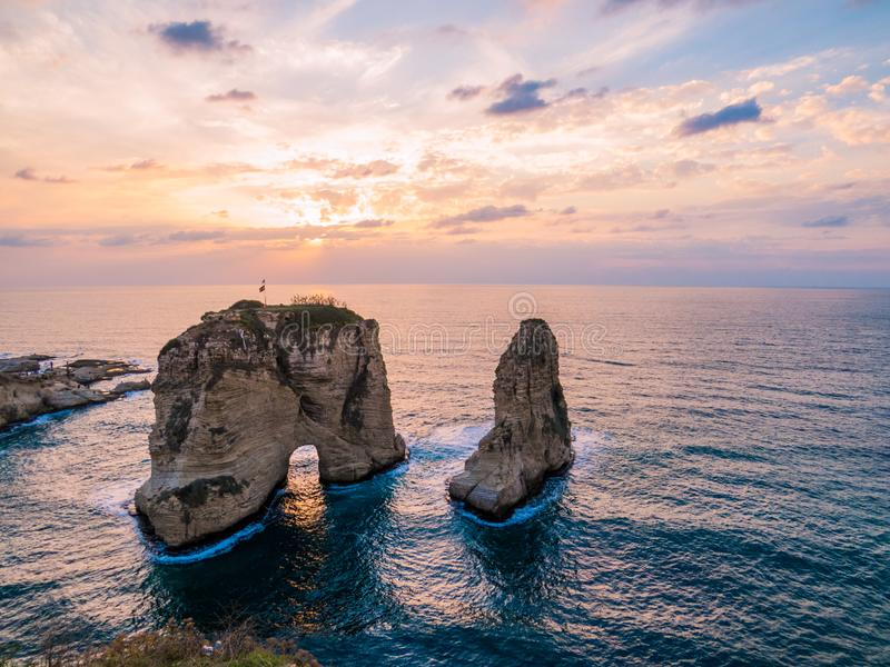 Magical sunset on Raouche, Pigeons` Rock. In Beirut, Lebanon royalty free stock images