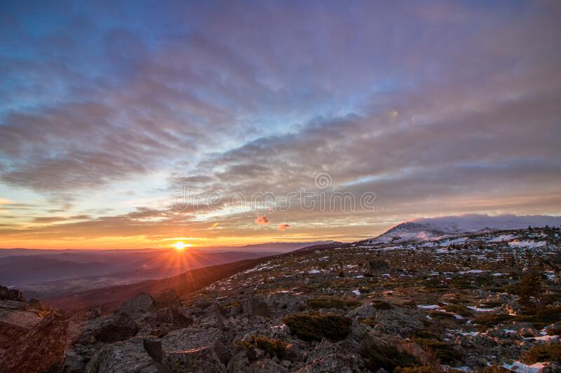 Magical sunrise in mountain. royalty free stock photography