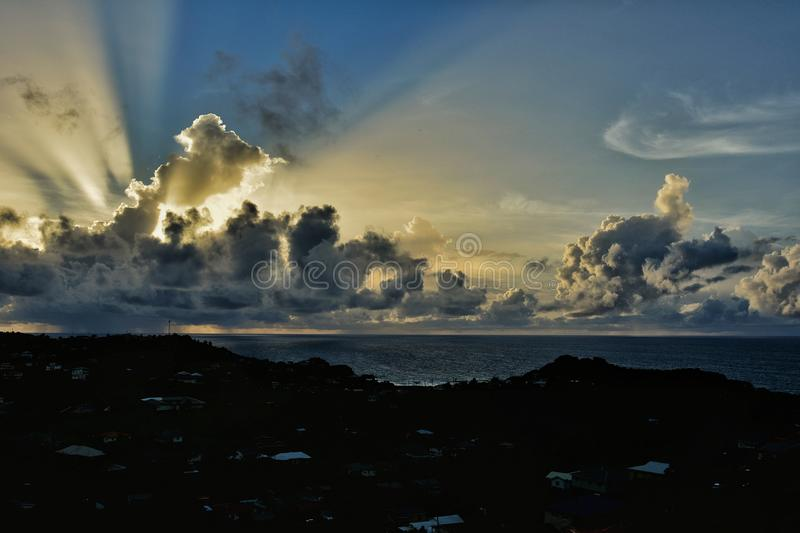Magical sunrise in Saint Vincent and the Grenadines. Atlantic ocean view. royalty free stock photos