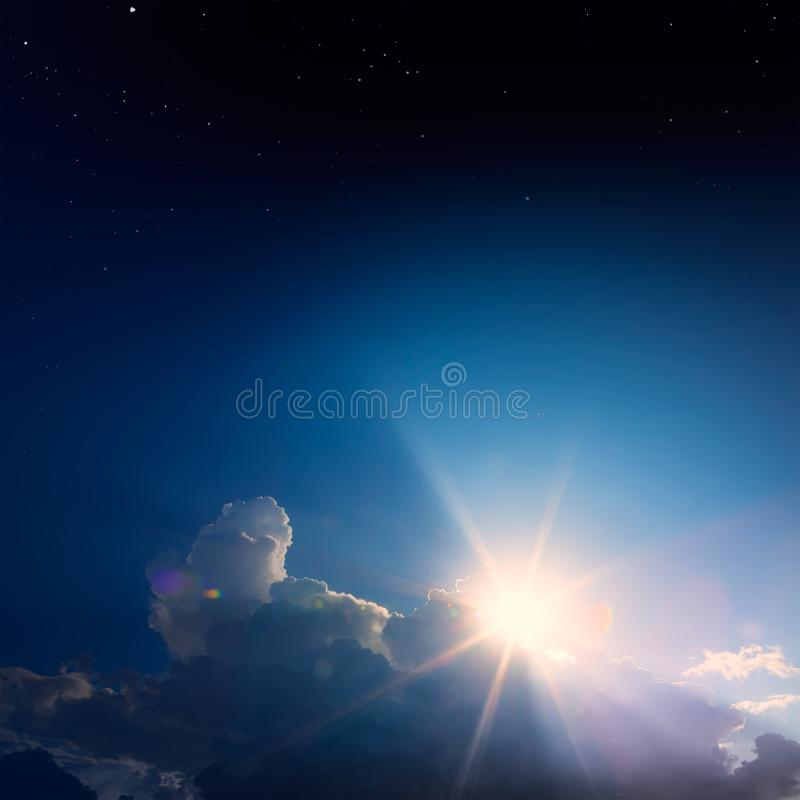 Magical sunrise starry sky; abstract background royalty free stock images