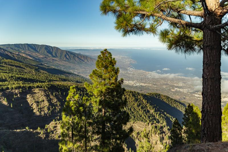 Magical sunset above the clouds in the mountains. View of south coast line on Tenerife. 2500m altitude. Canary Islands, Spain.  royalty free stock photos