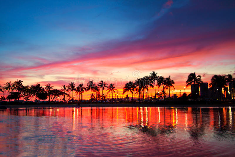 Magical sunset, Hawaii. Seascape, coconut trees, Hawaii resort