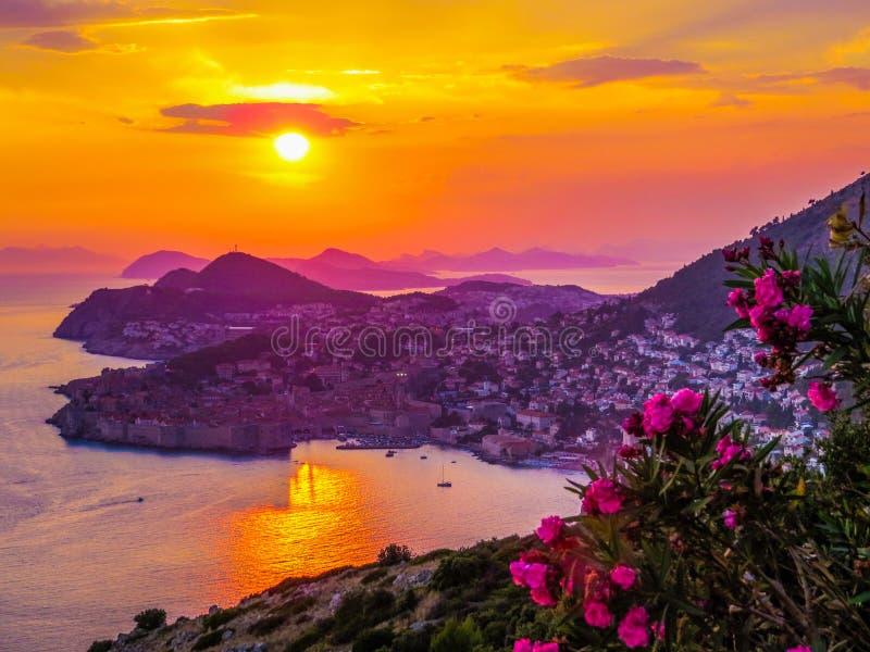 Magical sunset in Dubrovnik, Croatia stock image