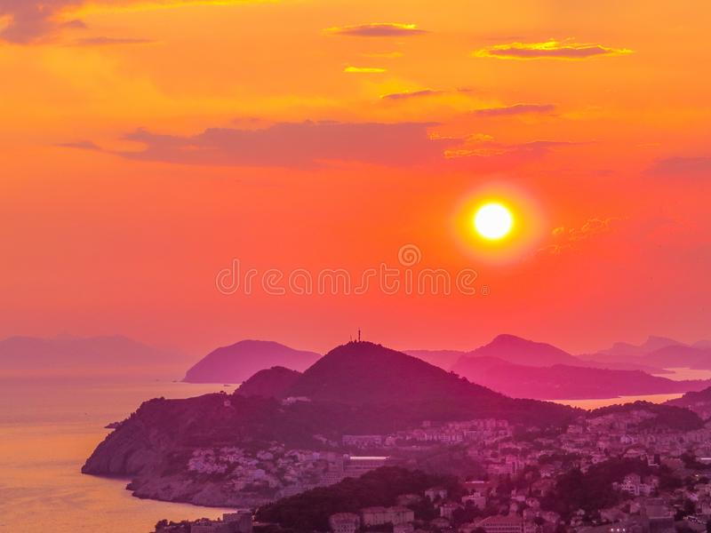 Magical sunset in Dubrovnik, Croatia royalty free stock photo