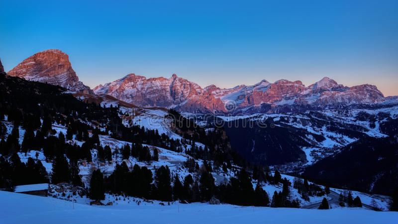 Magical sunset in the mountains of Alta Badia, Dolomites stock photography
