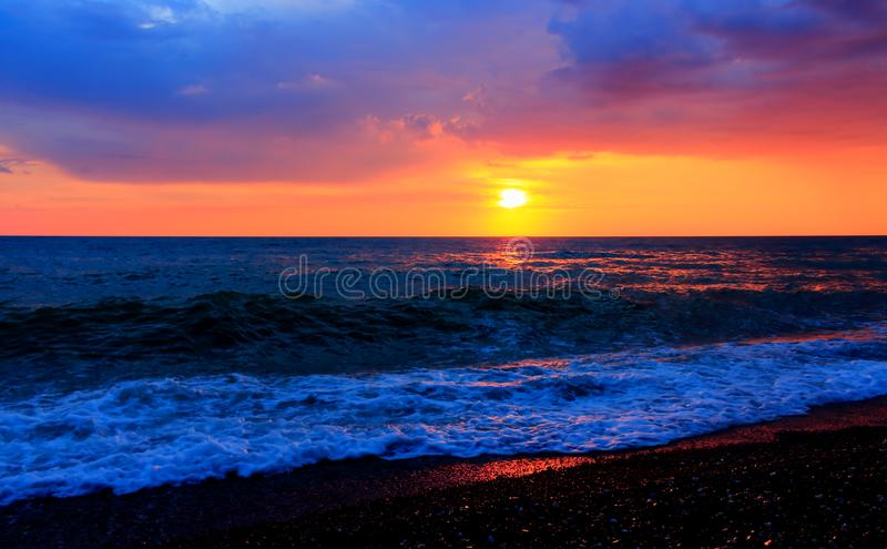 Fabulous sunset over the Black Sea royalty free stock photos