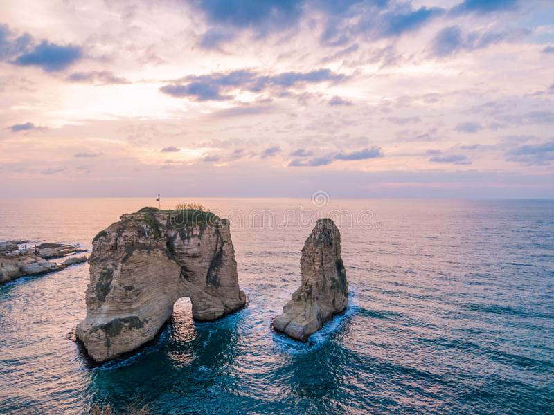 Magical sunset on Raouche, Pigeons` Rock. In Beirut, Lebanon stock photos