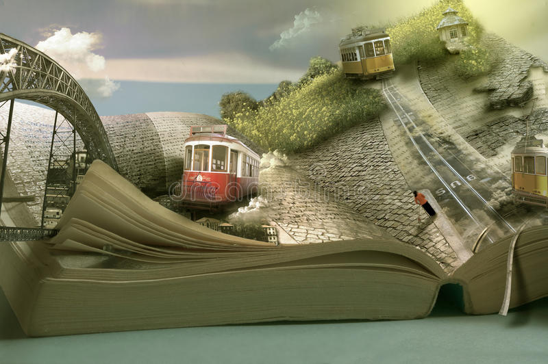 Magical travel book, trams and towns. Dimensional page open. Travel conceptual stock photography
