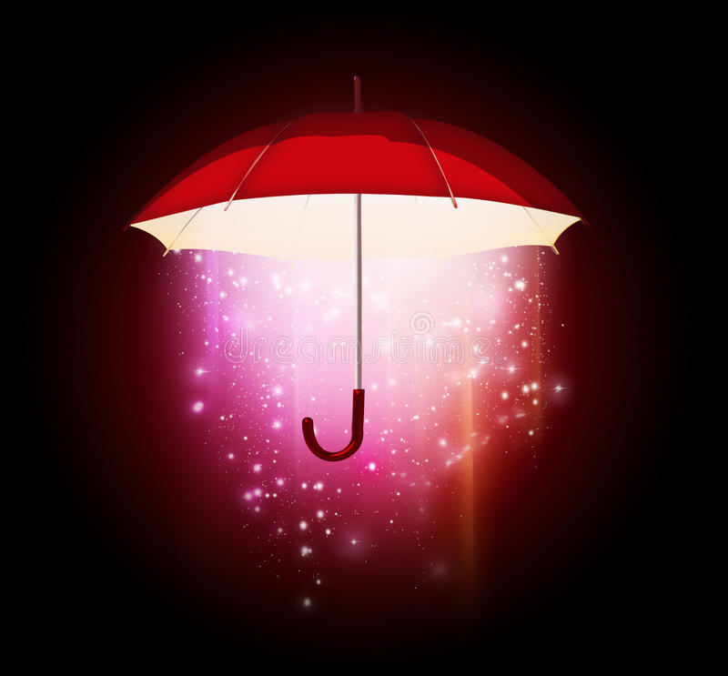 Magical umbrella. Magical glow coming from the umbrella on a dark background stock illustration