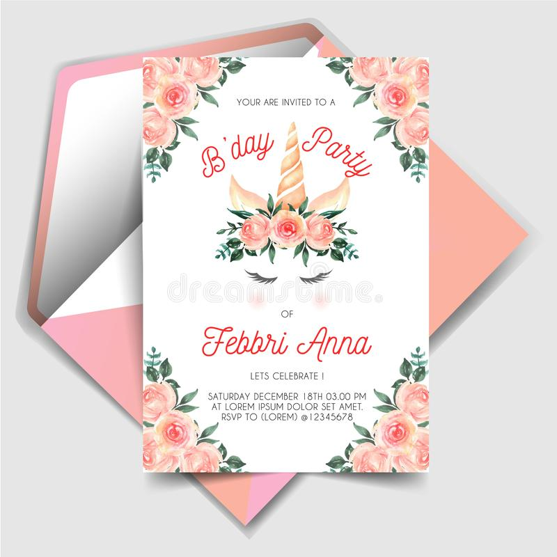Magical Unicorn Birthday Invitations with watercolor flower peach stock illustration