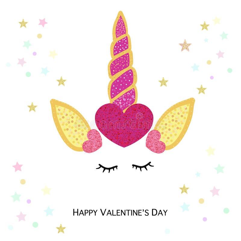 Magical unicorn valentine`s day. Happy Valentine`s day greeting card with unicorn. Magical unicorn birthday invitation royalty free illustration
